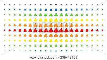 Crap Icon Spectral Halftone Pattern. Vector Crap Shapes Are Arranged Into Halftone Matrix With Verti