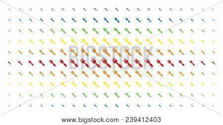 Cultivator Rake Icon Spectrum Halftone Pattern. Vector Cultivator Rake Pictograms Are Arranged Into