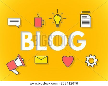 Blog Concept On Yellow Background. Business Blogging For Website, Banner, Poster. Modern Layers Desi