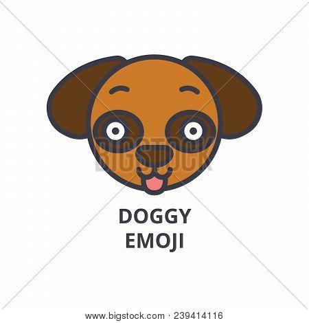 Doggy Emoji Vector Line Icon, Sign, Illustration On White Background, Editable Strokes