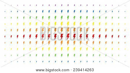 Electric Strike Icon Spectrum Halftone Pattern. Vector Electric Strike Pictograms Are Arranged Into