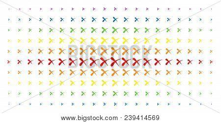 Erase Icon Spectrum Halftone Pattern. Vector Erase Pictograms Are Organized Into Halftone Grid With