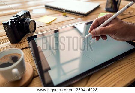 Working On Digital Tablet Using Stylus Pen
