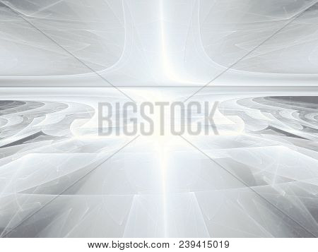 White Fractal Background - Abstract Computer-generated Image. Digital Art - Textured Surface With Pe