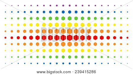 Filled Hexagon Icon Spectrum Halftone Pattern. Vector Filled Hexagon Items Are Organized Into Halfto