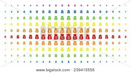 Financial Capital Icon Rainbow Colored Halftone Pattern. Vector Financial Capital Objects Are Arrang
