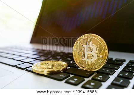 Digital Currency Bitcoin Business Concept With Laptop Computer