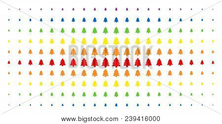 Fir-tree Icon Spectrum Halftone Pattern. Vector Fir-tree Pictograms Are Arranged Into Halftone Grid