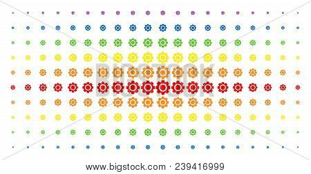 Gear Icon Spectrum Halftone Pattern. Vector Gear Items Are Arranged Into Halftone Array With Vertica