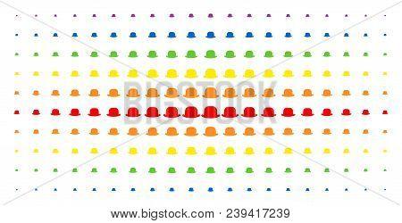 Gentleman Hat Icon Spectrum Halftone Pattern. Vector Gentleman Hat Shapes Are Organized Into Halfton