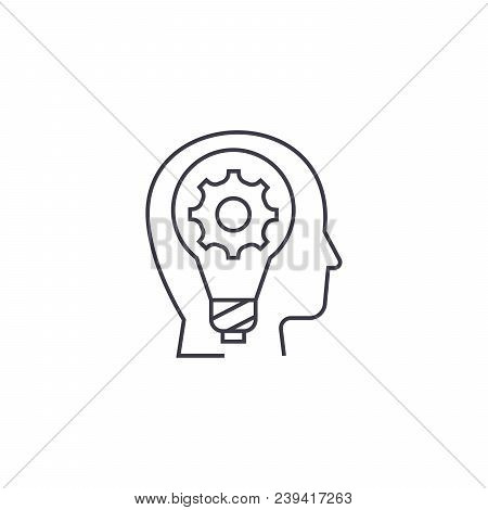 Imagination Vector Line Icon, Sign, Illustration On White Background, Editable Strokes