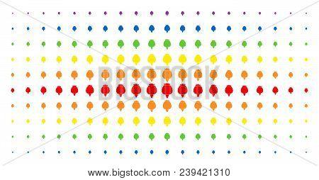 Opium Poppy Icon Spectrum Halftone Pattern. Vector Opium Poppy Items Are Arranged Into Halftone Arra
