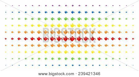 Paint Bucket Icon Spectrum Halftone Pattern. Vector Paint Bucket Pictograms Are Organized Into Halft