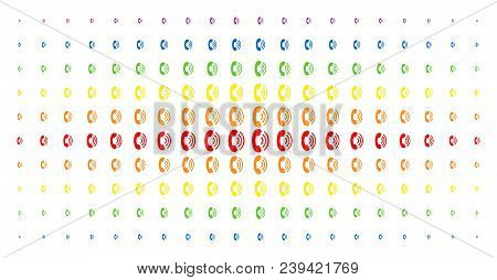Phone Ring Icon Spectrum Halftone Pattern. Vector Phone Ring Pictograms Are Arranged Into Halftone M