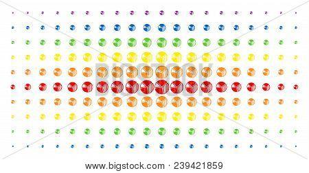 Pie Chart Icon Spectrum Halftone Pattern. Vector Pie Chart Symbols Are Arranged Into Halftone Matrix