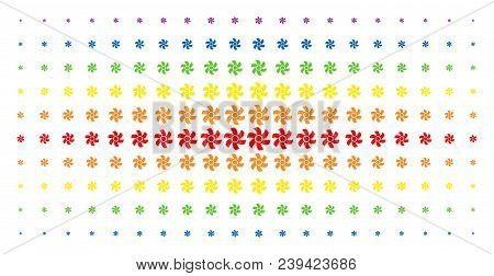 Rotor Icon Spectrum Halftone Pattern. Vector Rotor Symbols Are Arranged Into Halftone Array With Ver