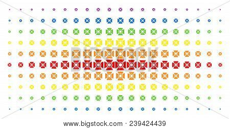 Searchlight Icon Spectrum Halftone Pattern. Vector Searchlight Shapes Are Arranged Into Halftone Arr