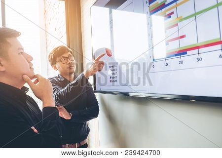 Business People Presentation On Future Plans To Colleagues , Business Meeting Concept