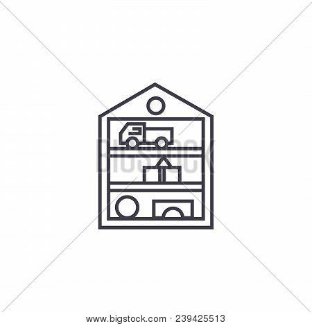 Toys Closet Vector Line Icon, Sign, Illustration On White Background, Editable Strokes