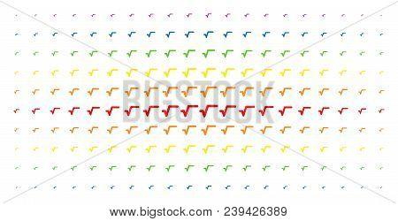 Sqrt Icon Spectrum Halftone Pattern. Vector Sqrt Symbols Are Organized Into Halftone Array With Vert