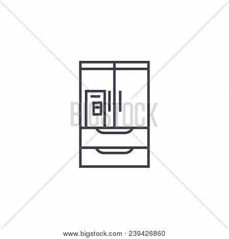 Wardrobe Closet Vector Line Icon, Sign, Illustration On White Background, Editable Strokes