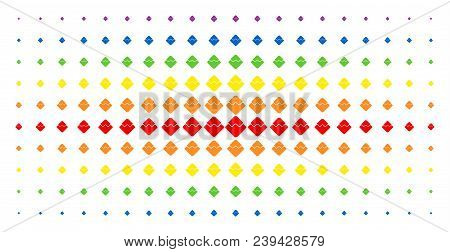 Waves Currency Icon Spectral Halftone Pattern. Vector Waves Currency Symbols Are Organized Into Half