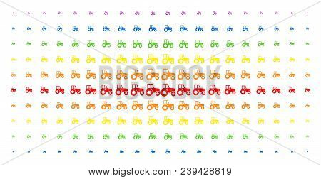 Wheeled Tractor Icon Rainbow Colored Halftone Pattern. Vector Wheeled Tractor Pictograms Are Organiz