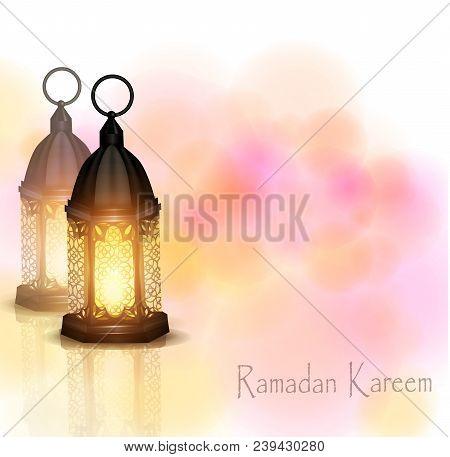 Vector Illustration Ramadan Kareem Lanterns Standing On Background