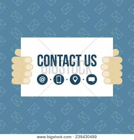 Vector Illustration Of Men Hands Holding Contact Us Card, Banner. Concept Of Creating Business Conta