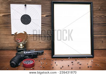 Best Shooter Diploma. First Place Winner In Shooting. Professional Shooter Certificate Mock Up. Gun,
