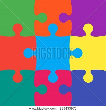 9 Colorful Background Puzzle. Infographic Presentation. Jigsaw Puzzle Banner. Vector Illustration Te