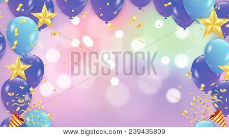 Abstract Vector Background With Bokeh Effect And Vector Party Balloons Illustration.  Purple And Pin