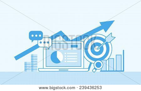 Online Marketing Concept, Mono Color. Strategy And Report Of Online Shopping Or Online Campaign Flat
