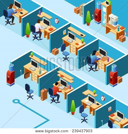 Vector isometric cubicle office plan, coworking with working clerks, employees on their workplaces. Business room, floor interior design with furniture, computers, people. poster
