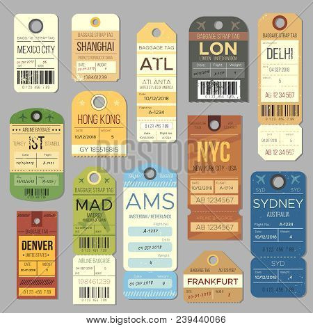 Luggage Carousel Baggage Vintage Tag Symbols. Old Train Ticket And Airline Journey Stamp Symbol. Lon