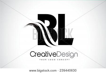 Bl B L Creative Modern Black Letters Logo Design With Brush Swoosh