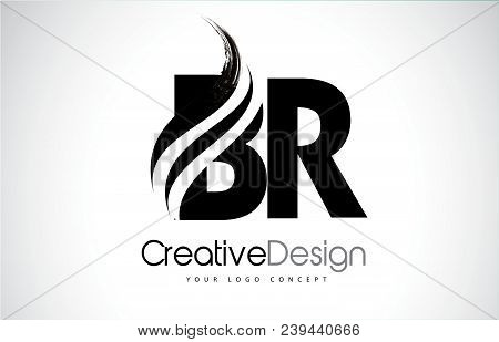 Br B R Creative Modern Black Letters Logo Design With Brush Swoosh