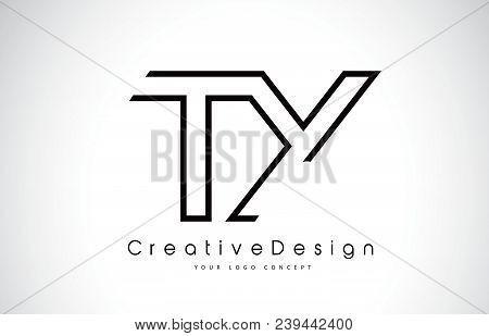 Ty T Y Letter Logo Design In Black Colors. Creative Modern Letters Vector Icon Logo Illustration.