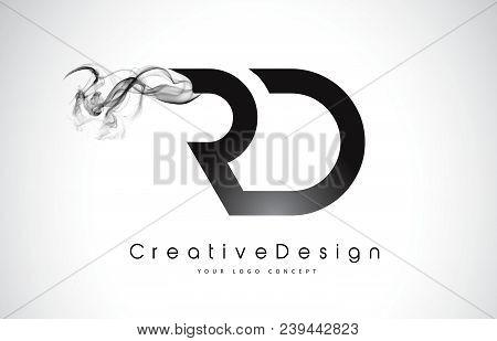 Rd Letter Logo Design With Black Smoke. Creative Modern Smoke Letters Vector Icon Logo Illustration.