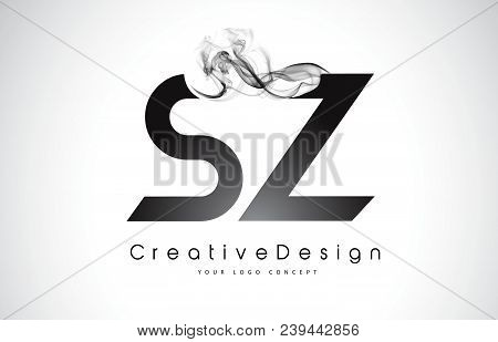 Sz Letter Logo Design With Black Smoke. Creative Modern Smoke Letters Vector Icon Logo Illustration.
