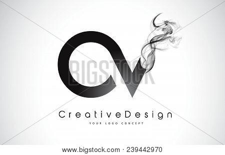 Ov Letter Logo Design With Black Smoke. Creative Modern Smoke Letters Vector Icon Logo Illustration.
