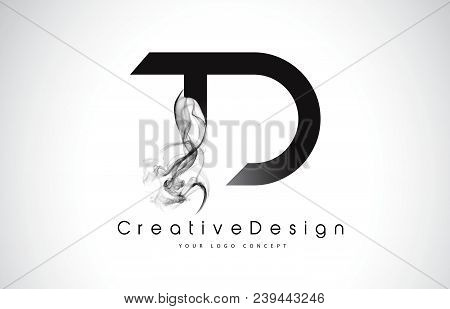 Td Letter Logo Design With Black Smoke. Creative Modern Smoke Letters Vector Icon Logo Illustration.
