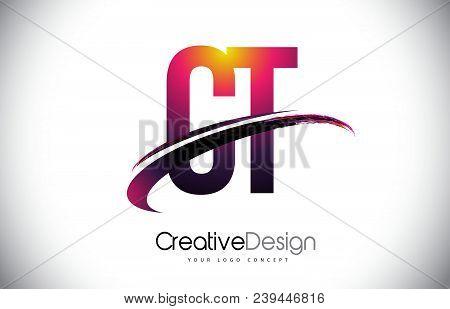Ct C T Purple Letter Logo With Swoosh Design. Creative Magenta Modern Letters Vector Logo Illustrati