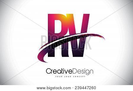 Rv R V Purple Letter Logo With Swoosh Design. Creative Magenta Modern Letters Vector Logo Illustrati