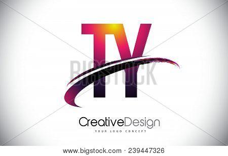 Ty T Y Purple Letter Logo With Swoosh Design. Creative Magenta Modern Letters Vector Logo Illustrati