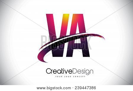Va V A Purple Letter Logo With Swoosh Design. Creative Magenta Modern Letters Vector Logo Illustrati