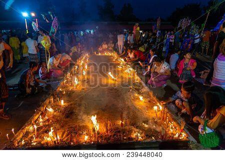 Kanchanaburi, Thailand - September 16, 2016: Buddhist Mon People Celebrate The Month Of Merit Festiv
