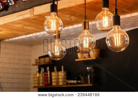 Led Light For Decoration Antique. Led Light Bulbs Vintage Style. Close Up Led Light Bulbs Decoration