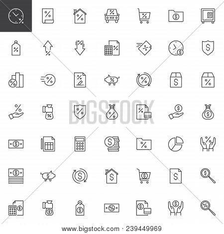 Banking Outline Icons Set. Linear Style Symbols Collection, Line Signs Pack. Vector Graphics. Set In