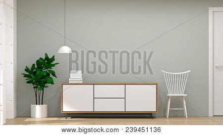 Modern Tv White Wood Cabinet,chair,lamp In Empty Room Interior Background  3d Illustration Home Desi